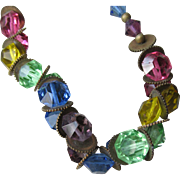 1920's Vintage Multi Color Crystal Flapper Necklace