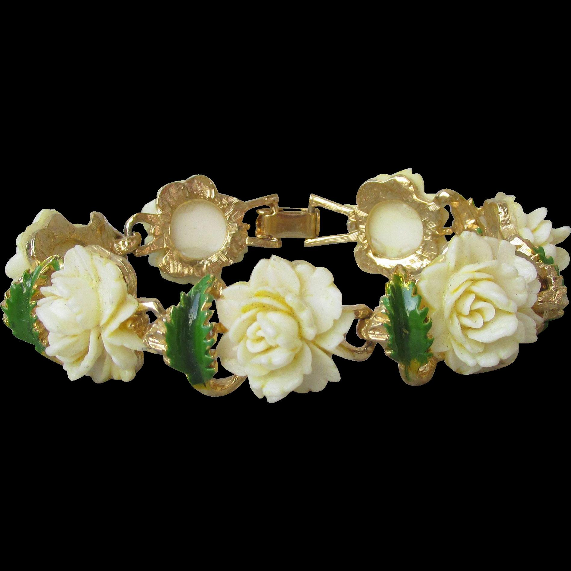Pristine!  1960's Vintage Imitation Ivory Celluloid Roses & Green Enamel Bracelet