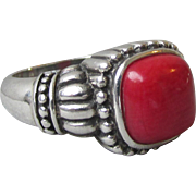 Gorgeous Vintage Sterling Silver Bali Red Coral Ring, Size 8