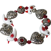 """My Secret Garden"" Lampwork Art Glass Bead Artisan Stretch Bracelet, ""Red Winged White Birds"" #B1"
