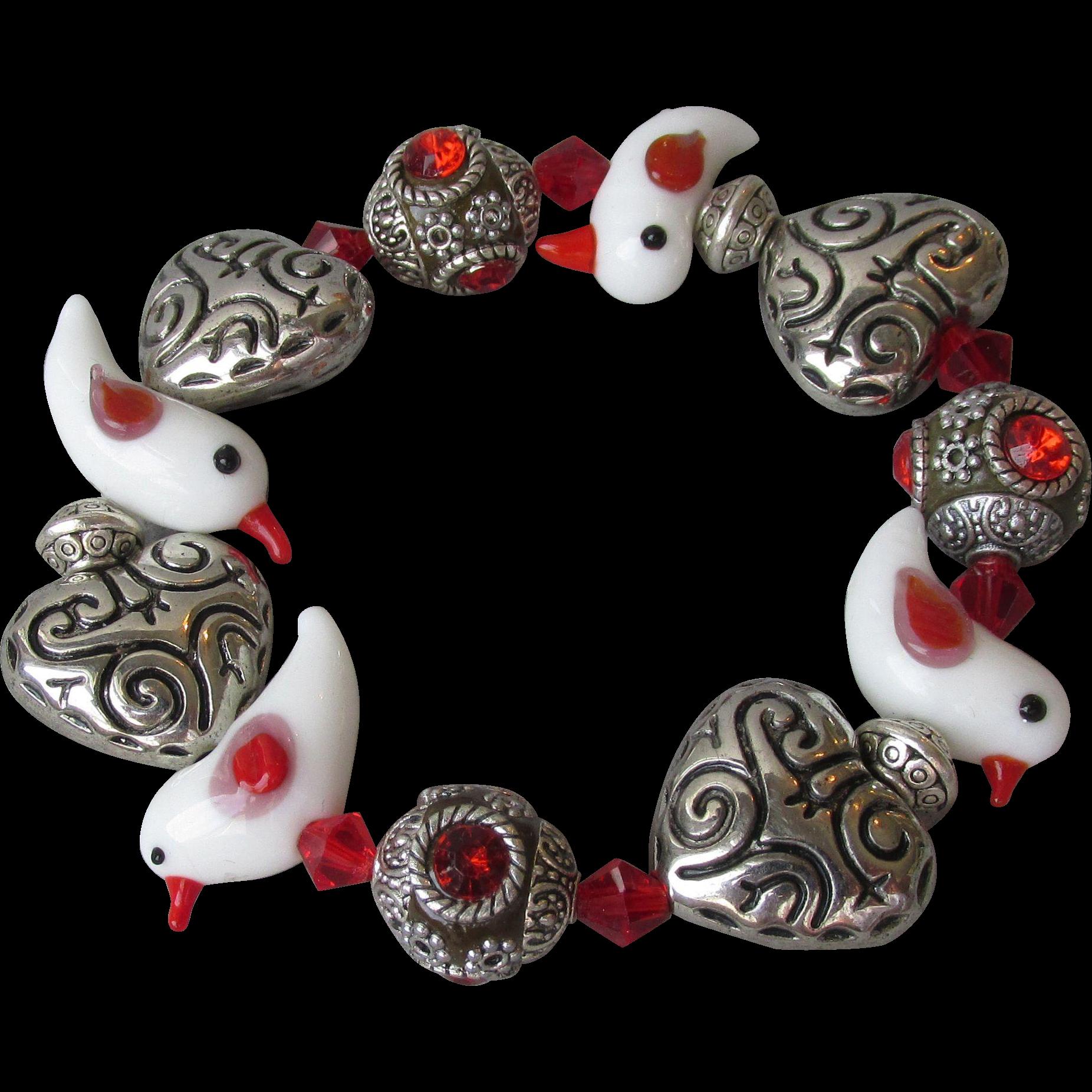 """My Secret Garden"" Lampwork Art Glass Bead Artisan Stretch Bracelet, ""Red Winged White Birds"" #B1"