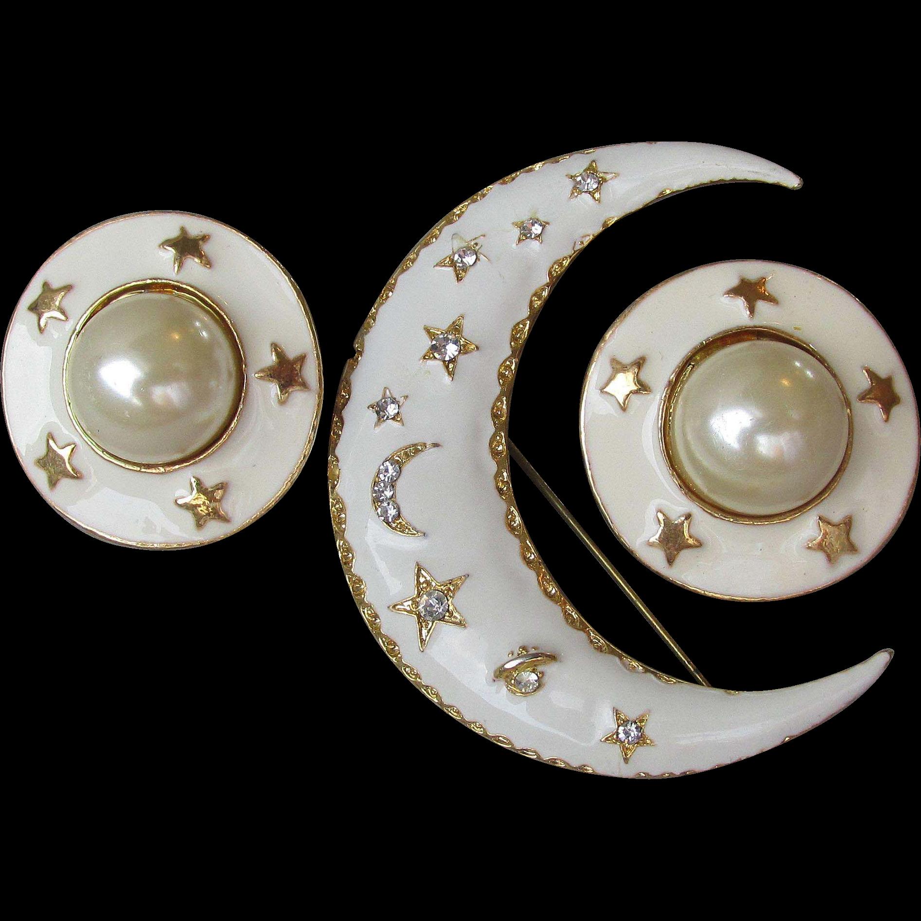 Vintage 1980's Ivory Enamel on Gold Tone Moon & Stars Pin, Earrings Set