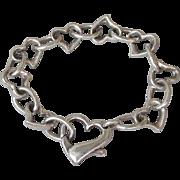 Heavy Vintage Sterling Silver Heart Shaped Link Bracelet