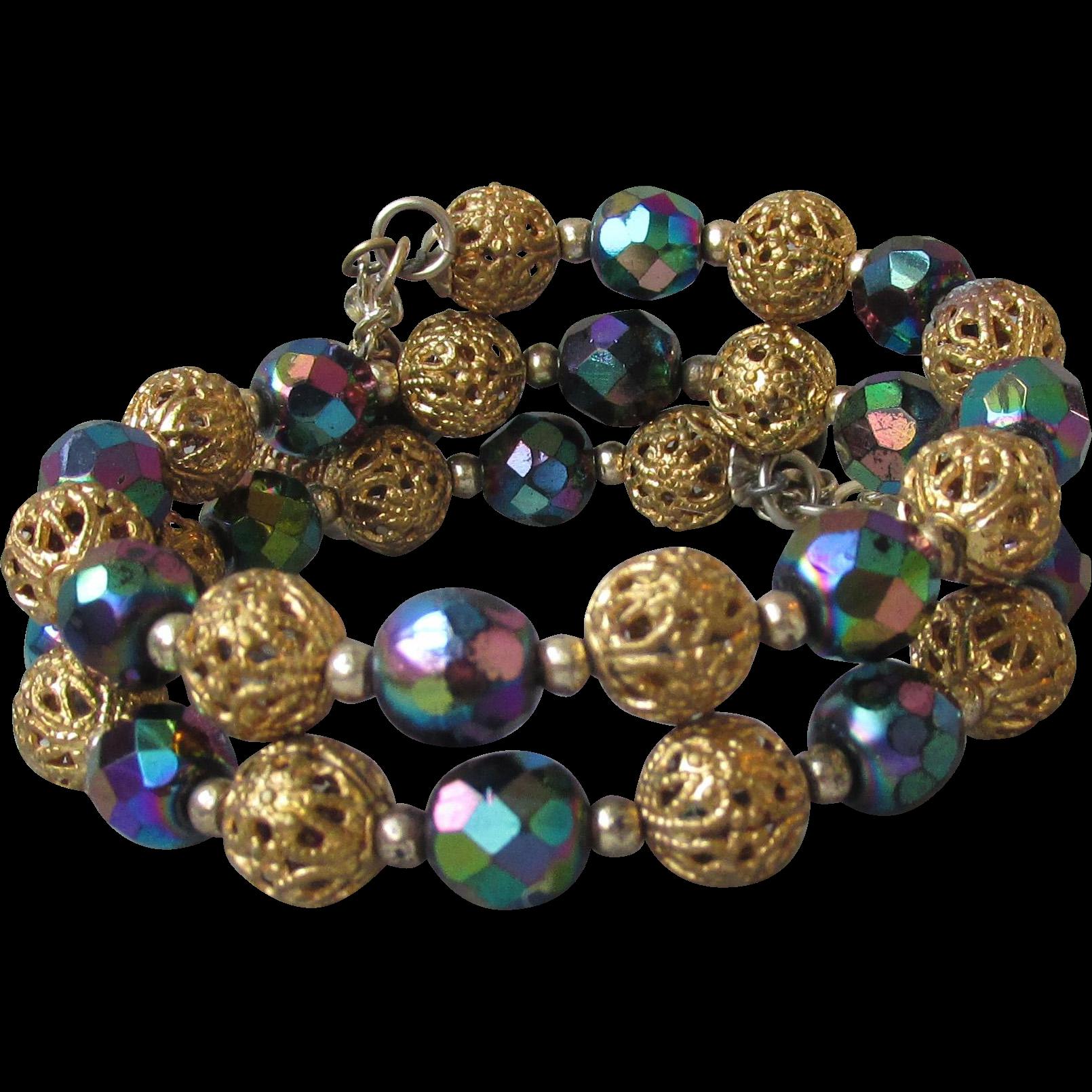 Vintage Gold Tone Filigree Bead & Black Aurora Borealis Crystal Bead Memory Wire Bracelet