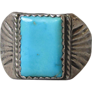 Vintage Native American Sleeping Beauty Turquoise Sterling Silver Ring, Size 10