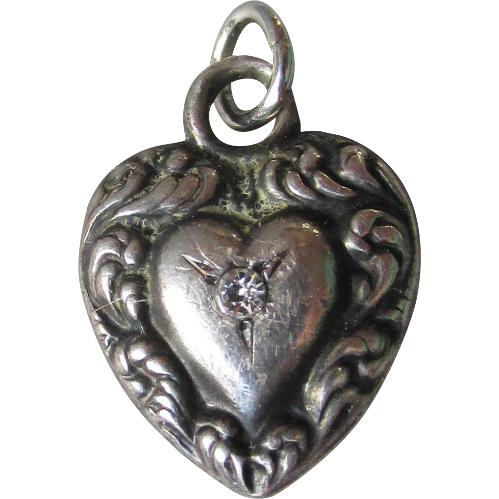 Vintage Small Puffy Heart Sterling Silver Charm with Paste Stone, Engraved