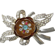 1930's Pot Metal Rhinestone Flower TREMBLER Pin, Vintage Brooch