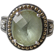 Green Amethyst Prasiolite Sterling Silver with 14k Gold Vintage Ring, Size 7