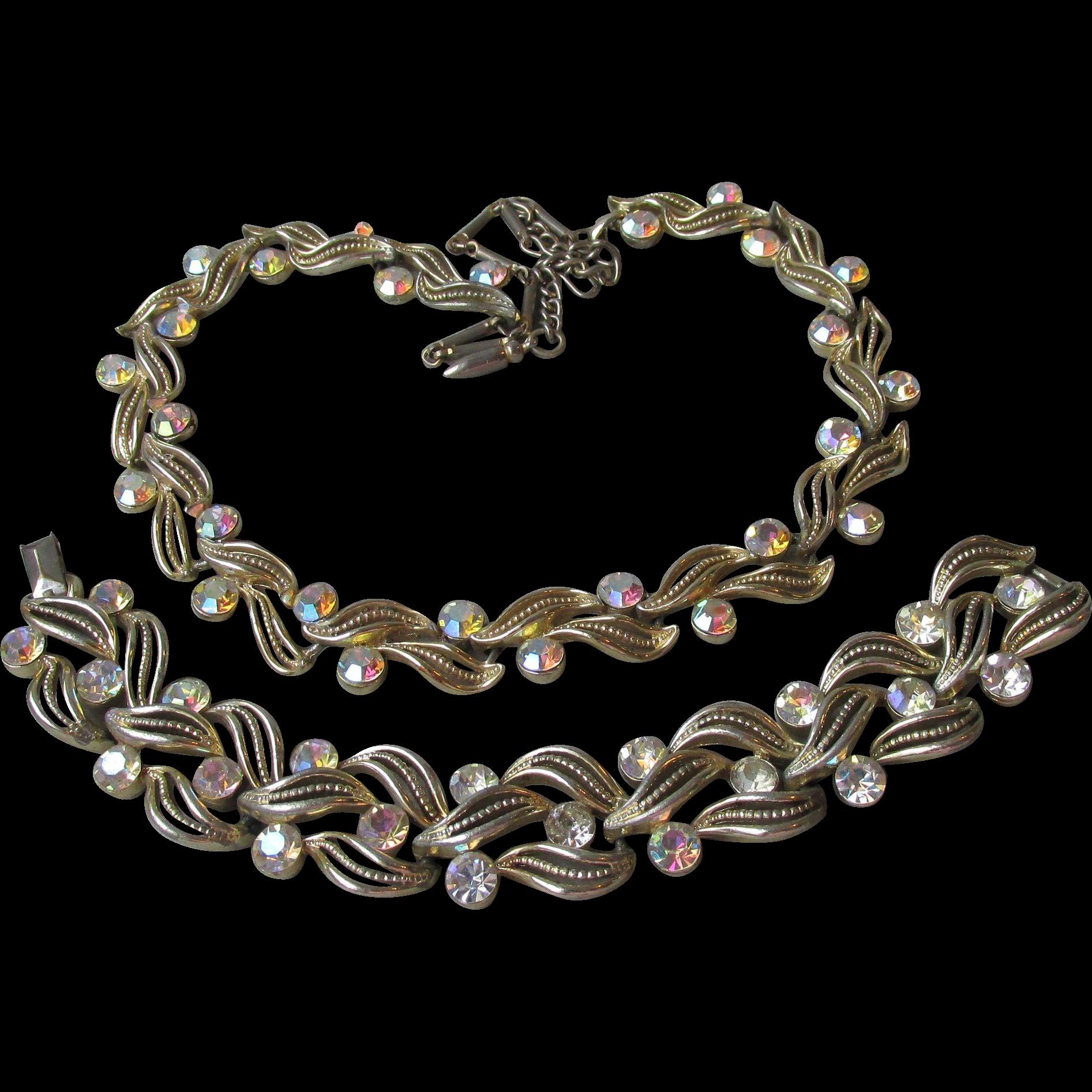 Lisner Aurora Borealis Rhinestone Gold Tone Leaf Link Vintage Necklace & Bracelet Set