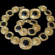 Black Enamel Gold Tone Etruscan Revival Necklace, Bracelet, Earrings Set, BIG 1980's Vintage Parure