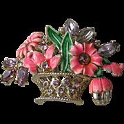 Charming Vintage Basket of Flowers Lilac Rhinestone & Coral Enamel Pin