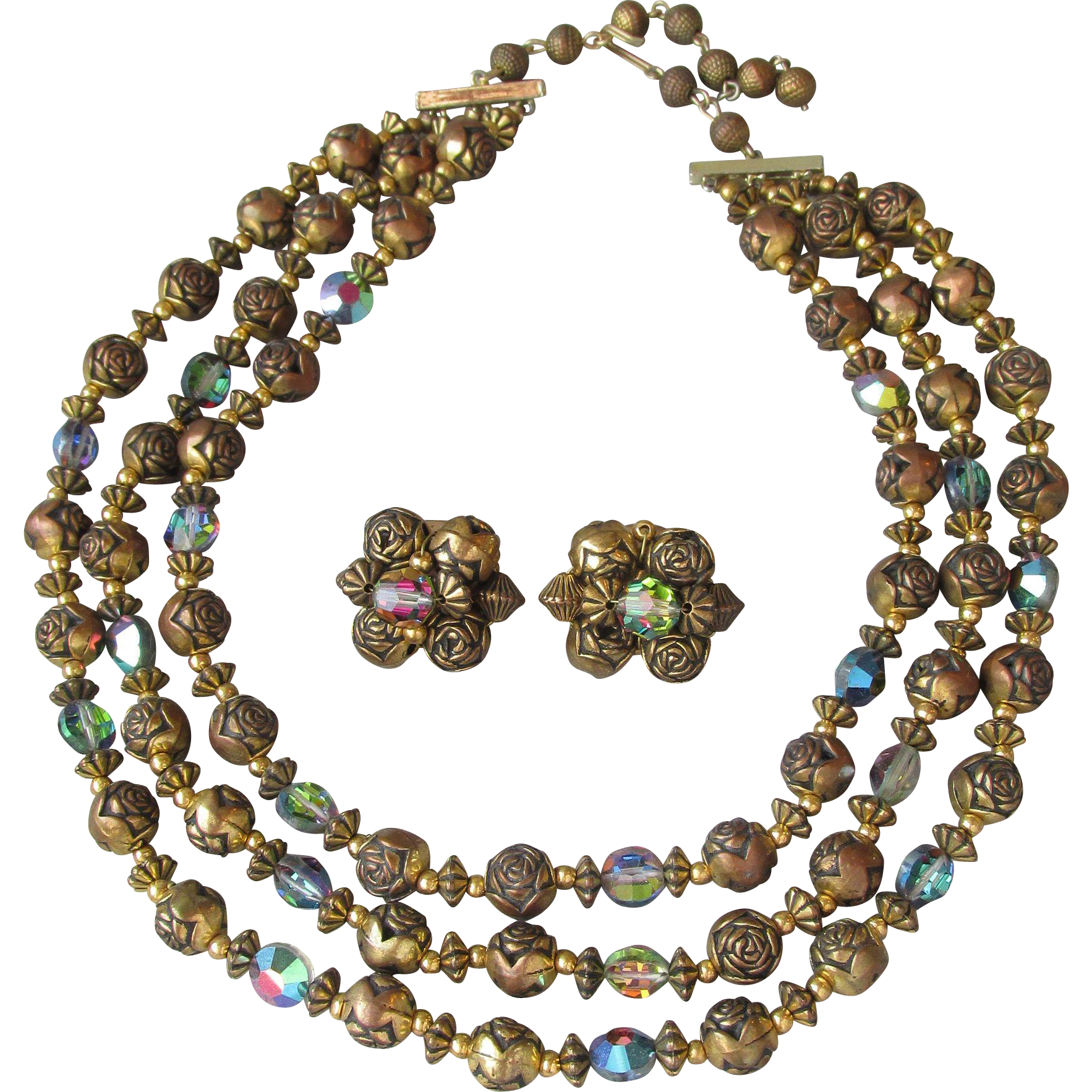 1950's Rose Bead with Vitrail Swarovski Crystals Triple Strand Vintage Necklace & Earrings Set