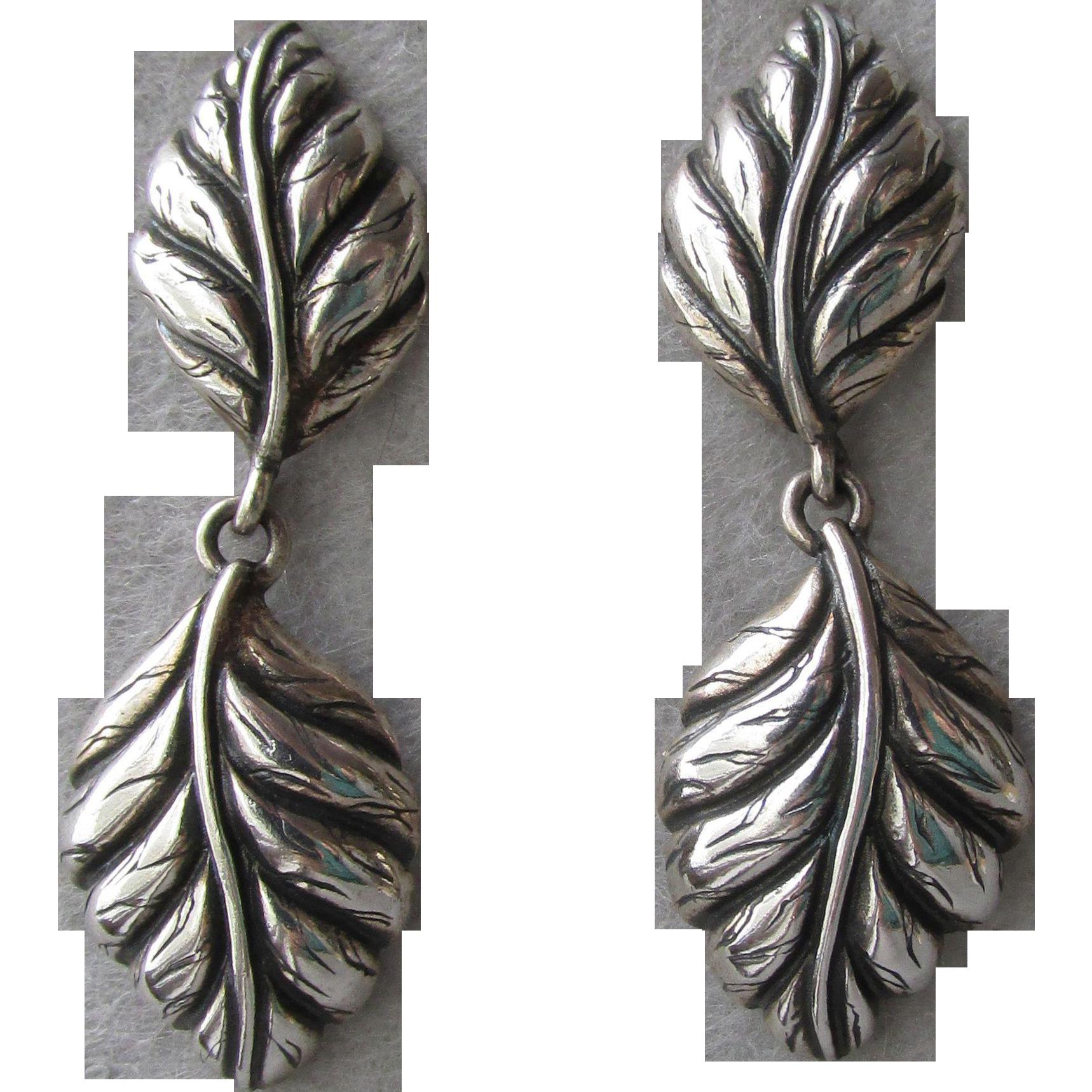 Graceful Curved Double Leaf Dangle Vintage Sterling Silver Pierced Earrings