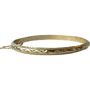 Gold Plated Sterling Silver Thin Etched Hinged Vintage Bangle Bracelet