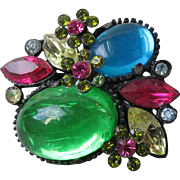 Vibrant Unsigned Weiss Vintage Japanned Mirrored Glass Rhinestone Pin