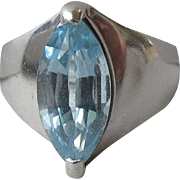 Vintage Modernist Marquise Blue Topaz Sterling Silver Wide Band Ring, Size 7.5
