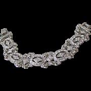 "Sophisticated Diamonte Open Work Vintage Rhinestone Bracelet, 7 1/2"""