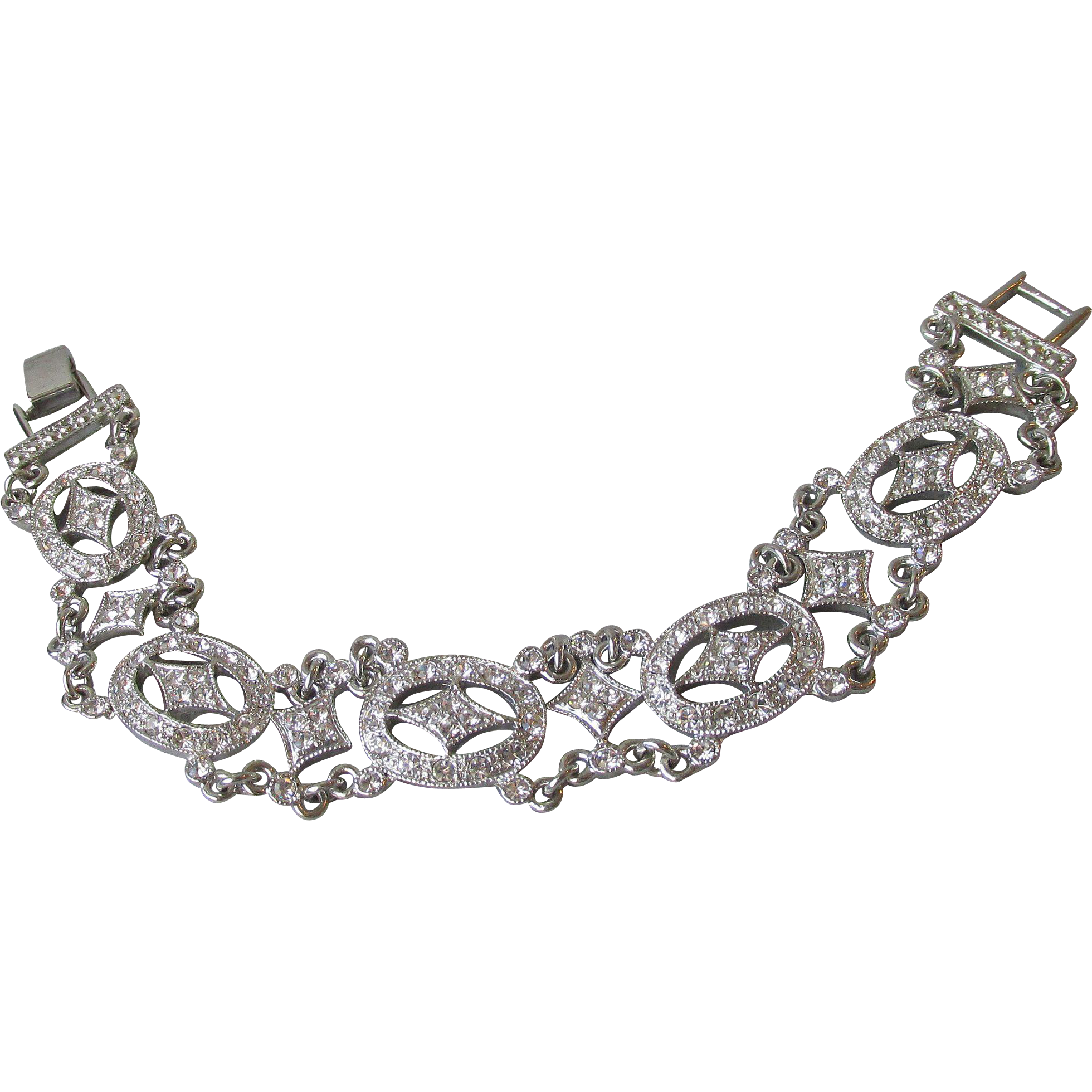 Sophisticated Diamonte Open Work Vintage Rhinestone Bracelet, 7 1/2""