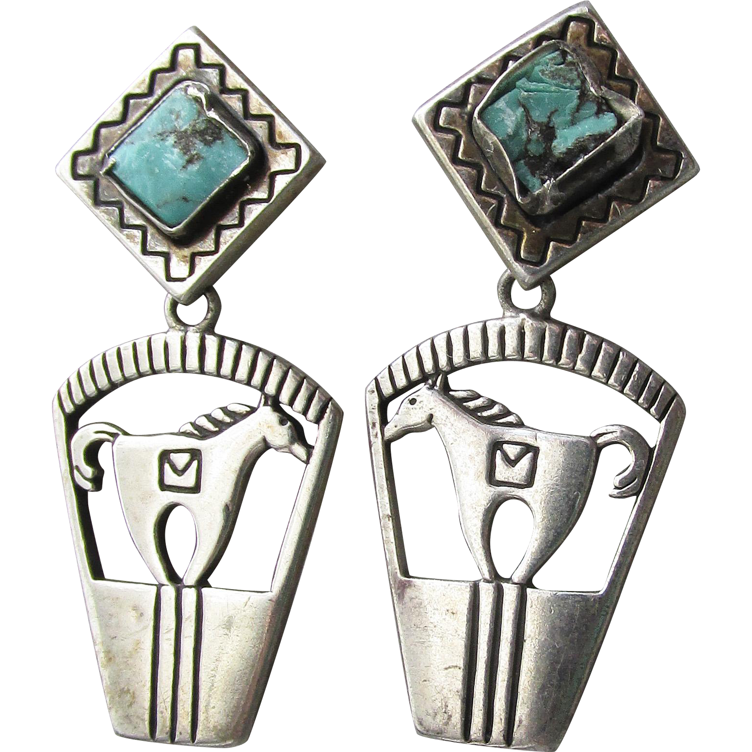 Southwestern Carolyn Pollack Relios Sterling Silver Turquoise Horse Dangle Earrings