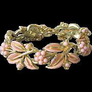 Signed CORO Pale Pink Enamel Leaf & Flower 1950's Vintage Bracelet