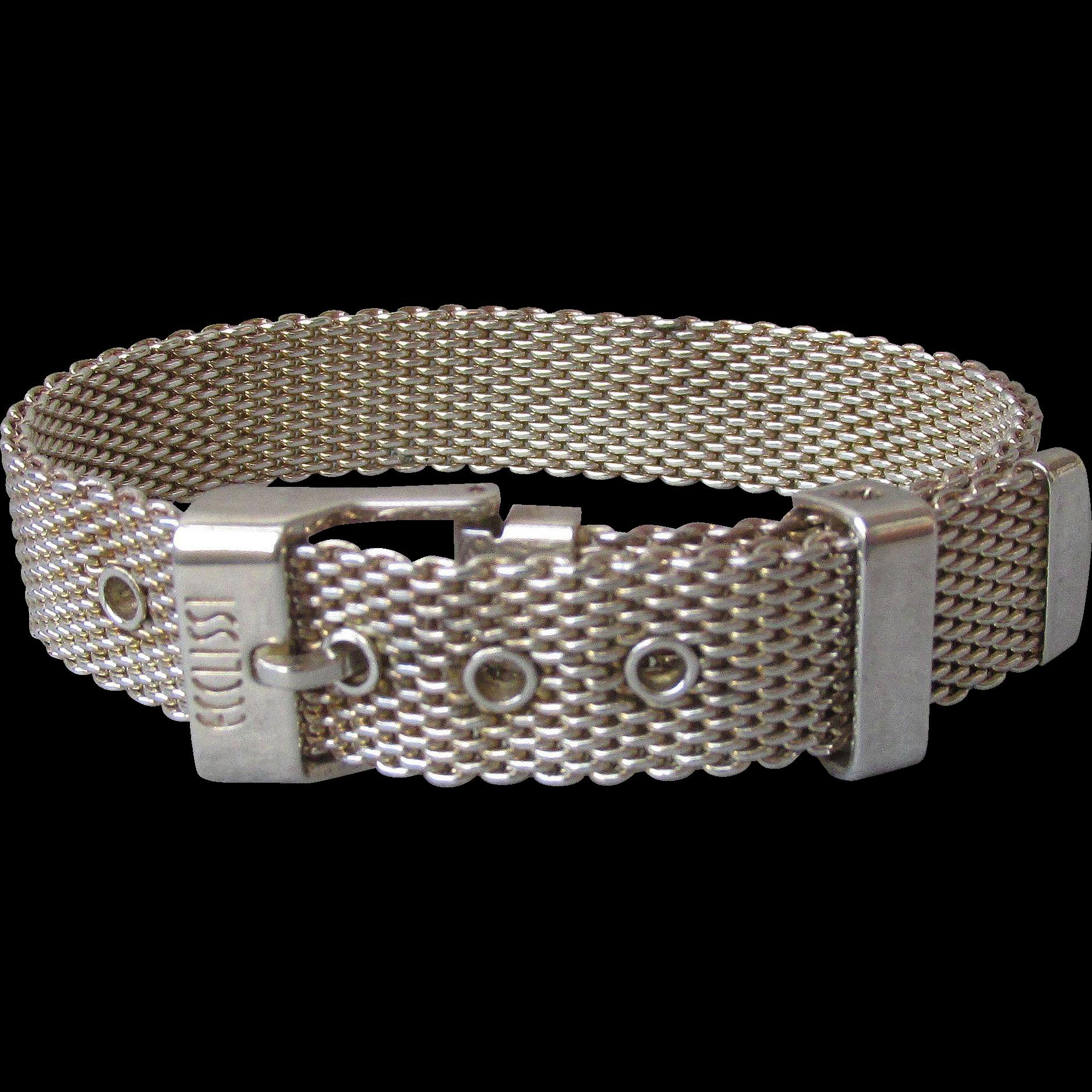 """Heavy Ecclissi Sterling Silver Vintage Mesh Buckle Bracelet, Adjustable Size 6"""" - 7.5"""""""