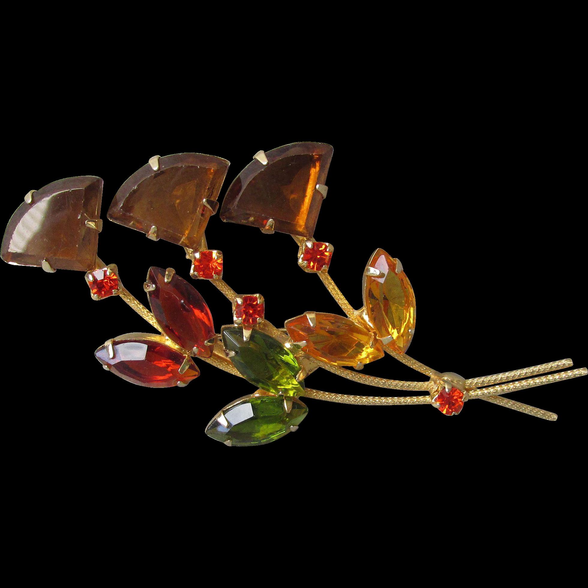 Juliana Delizza & Elster Wide Topaz Kite Rhinestone Fall Colors Flower Vintage Brooch Pin