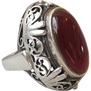 Magnificent & Massive Vintage Balinese Sterling Silver Carnelian Open Work Ring, Size 7