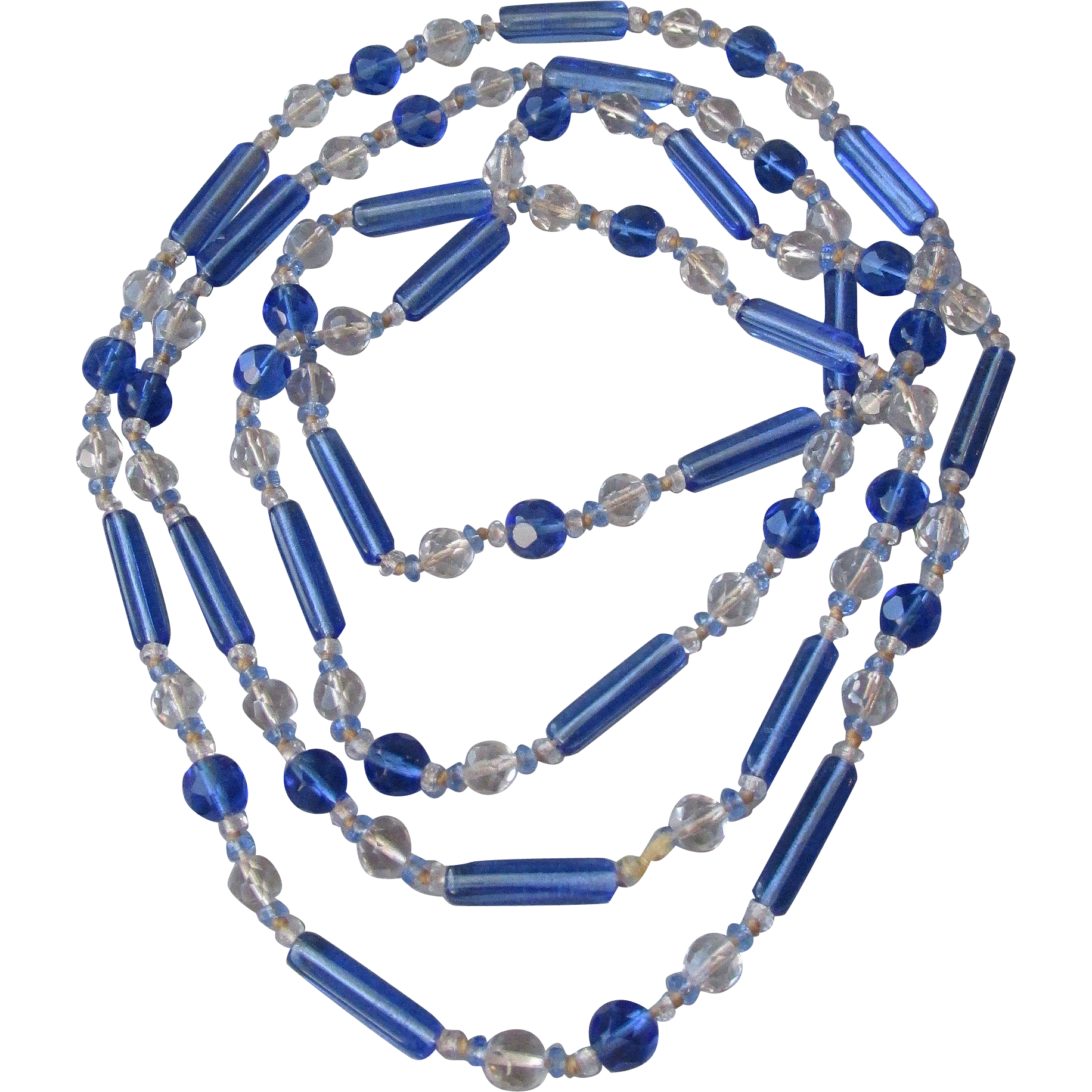 """1920's Vintage Hand-Knotted Blue Glass & Czech Crystal Bead Flapper 56"""" Long Necklace"""