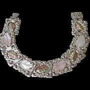 """Black Hills Gold Vintage Coleman 12k Gold & Sterling Silver, Mother-of-Pearl Bracelet, Size Large 8"""""""