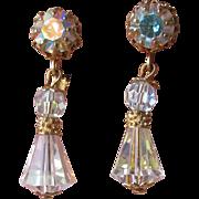 Gleaming 1960's Vendome MOD Dangle Aurora Borealis Crystal Earrings