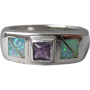 Vintage Inlaid Square Opal & Amethyst Sterling Silver Band Ring, Size 8.5