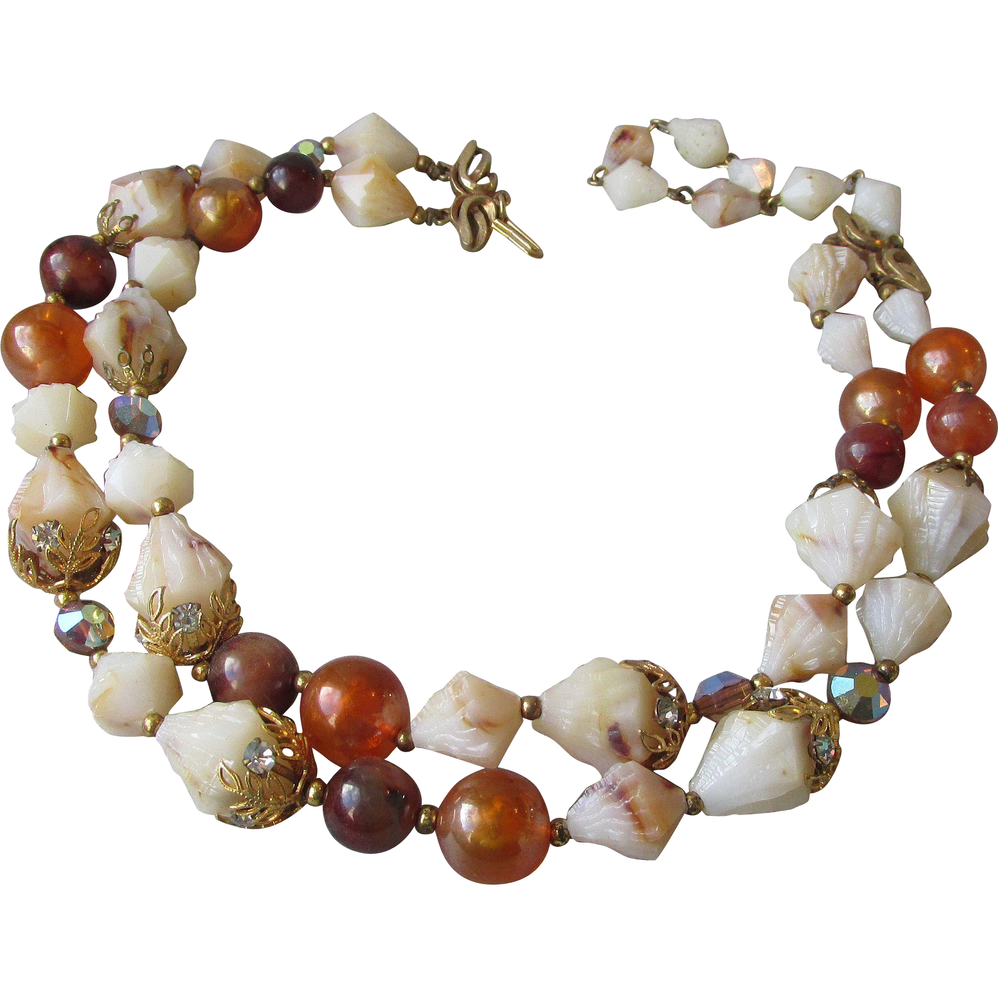 1950's Vintage Signed Deauville Double Strand Amber & Unusual Shell Lucite Bead Necklace
