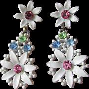 Pretty 1960's Vintage MOD White Enamel & Pastel Rhinestone Dangle Daisy Earrings