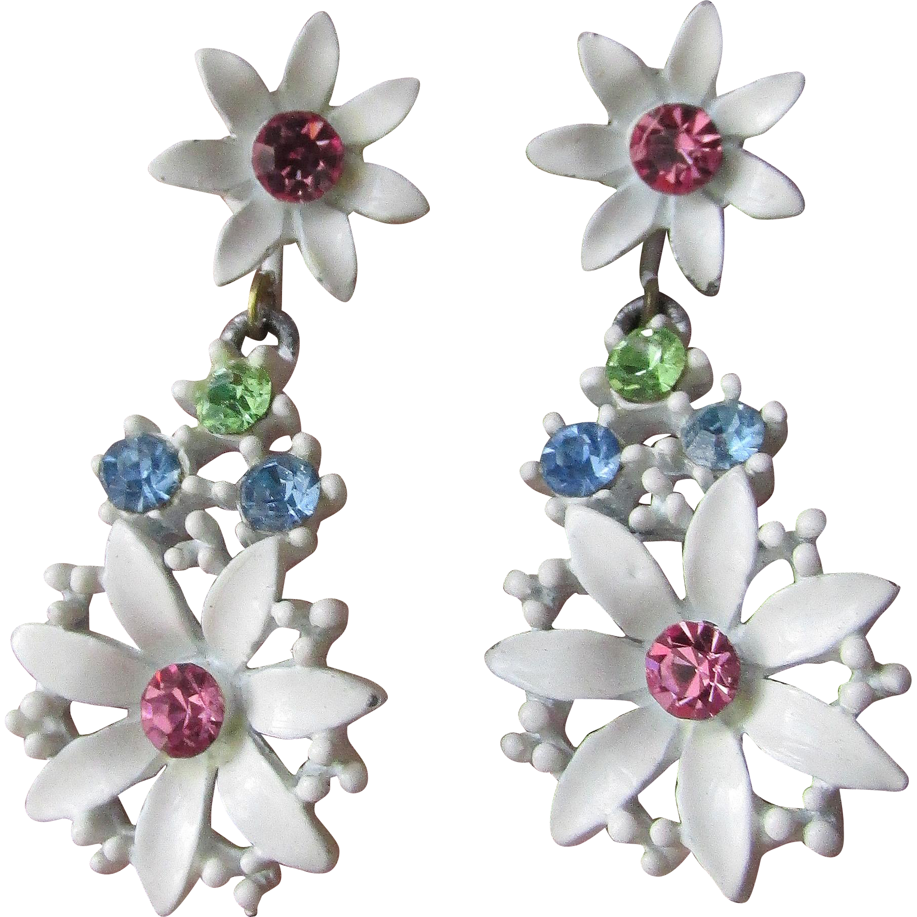 Pretty 1960's Vintage MOD White Enamel & Pastel Rhinestone Dangle Daisy Earrings