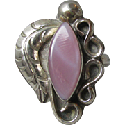 Vintage Mexico Banded Lavender Chalcedony Cabochon Sterling Silver Handcrafted Ring, Size 6.5