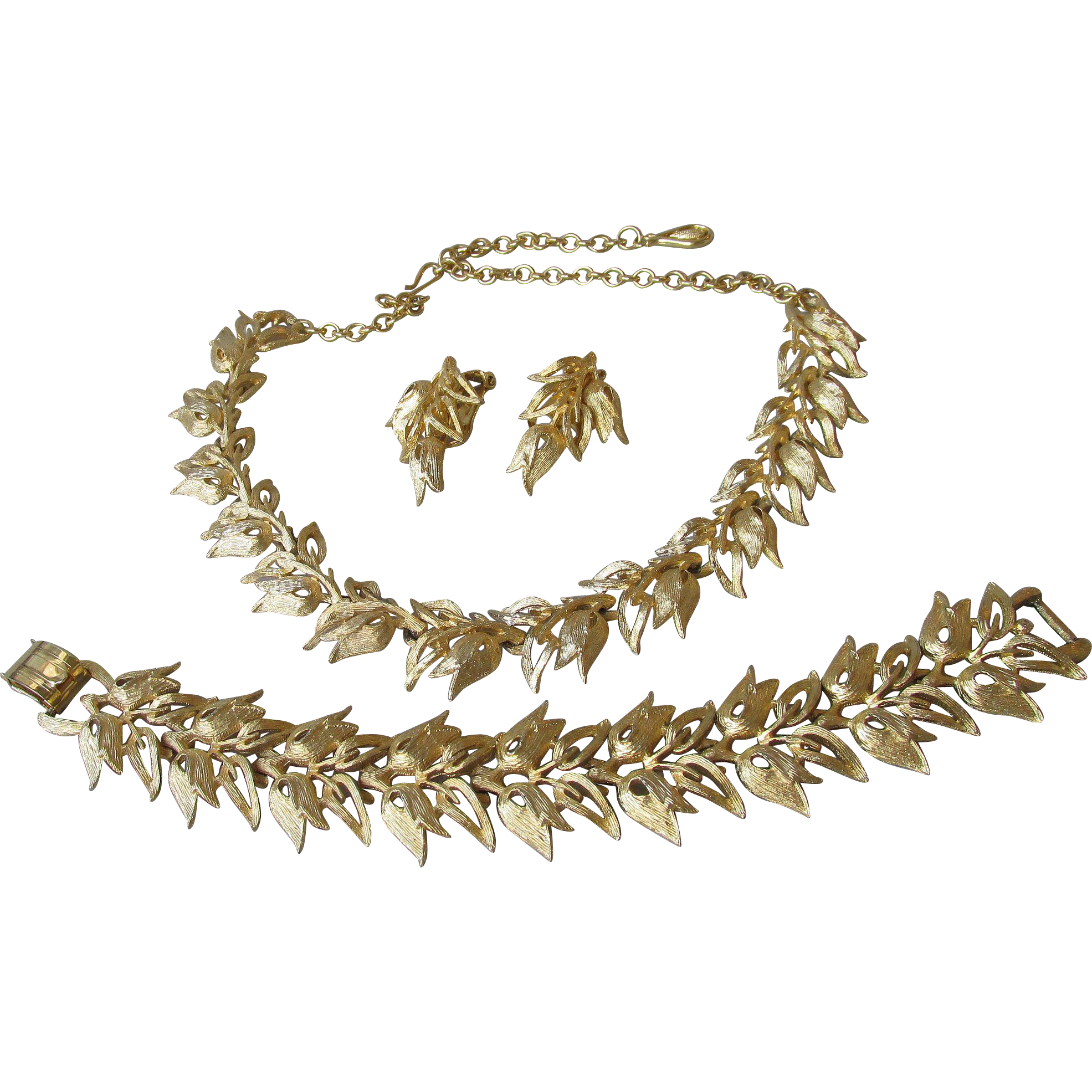 Pristine 1950's Vintage CORO Pegasus Brushed Gold Tone TULIP Link Parure, Bracelet, Necklace, Earrings
