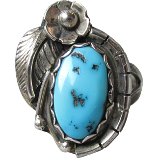 Stunning Vintage Native American Navajo Feather & Flower Sterling Silver, Turquoise Ring, Size 6.5