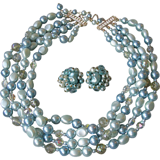 Pretty Vintage 4-Strand Blue Faux Pearl & Crystal Bead Necklace Earrings Set