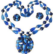 1950's Vintage Germany Vibrant Blue Genuine Lucite Bead Two-Strand Necklace & Earrings Set