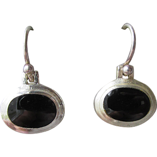 Petite Dangle Sterling Silver with Oval Black Onyx Vintage Pierced Earrings
