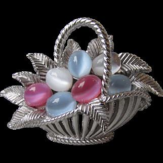 Vintage 1960's Crown Trifari Pastel Cabochon Eggs Basket Pin, RARE Silver Color