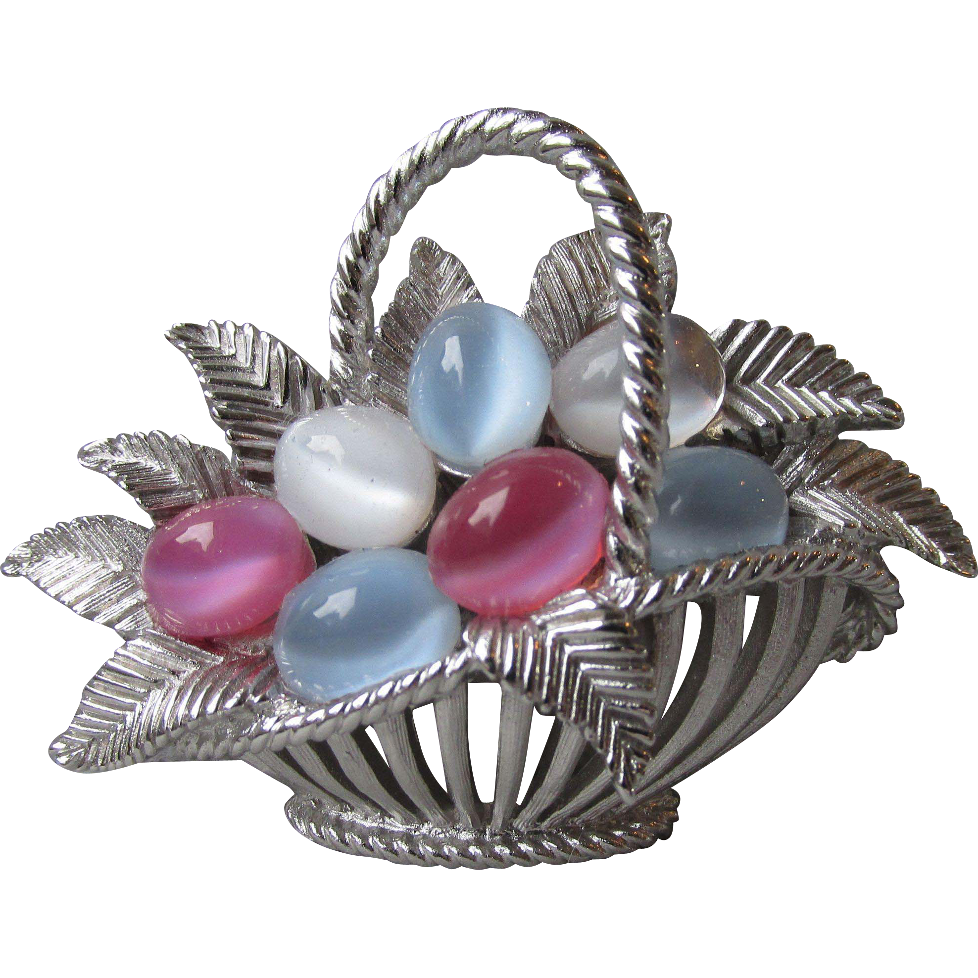 Vintage 1960's Crown Trifari Pastel Cabochon Eggs Basket Pin, RARE Silver Color