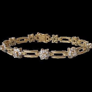 Vintage Gold On Sterling Silver Vermeil CZ Flower Link Bracelet