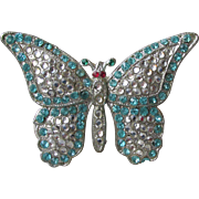 1930's Art Deco Aqua Rhinestone Butterfly Pin, Vintage BOOK Piece Brooch