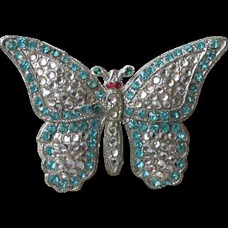1930's Art Deco Aqua Rhinestone Butterfly Pin, Vintage BOOK Piece Brooch