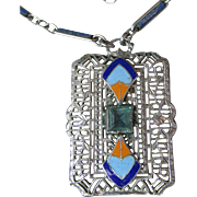 1920's Vintage Art Deco Egyptian Revival Enamel & Rhinestone Rhodium Filigree Pendant Necklace
