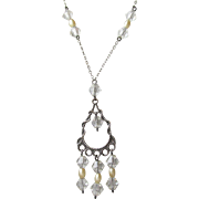 Pretty 1920's Vintage Sterling Silver, Crystal & Faux Pearl Lavalier Necklace