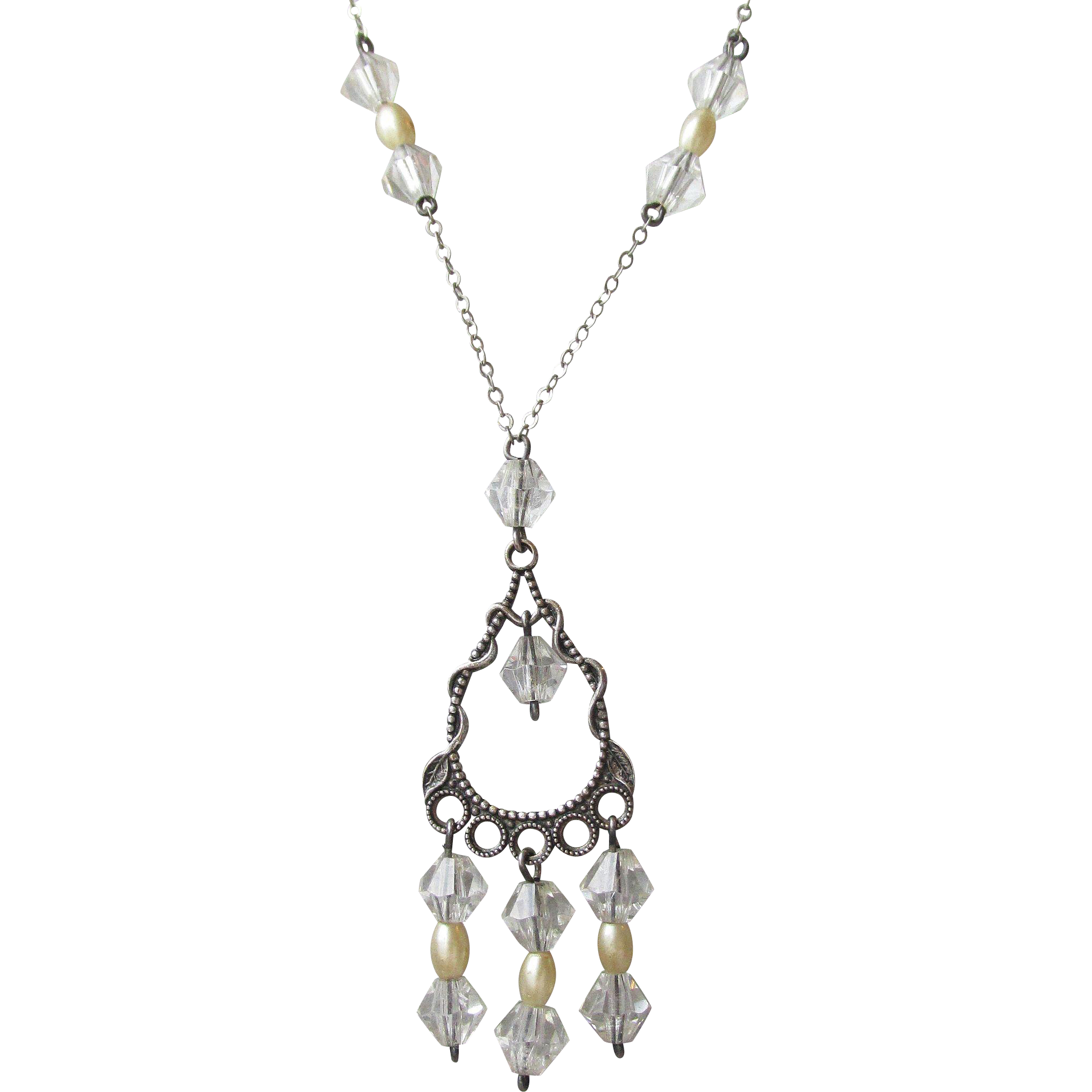 Art Deco Vintage 1920's Sterling Silver, Crystal & Faux Pearl Lavalier Necklace