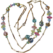 "Vintage 56"" Long 1960's MOD Multi-Color Swarovski Crystal Bead & Chain Necklace"