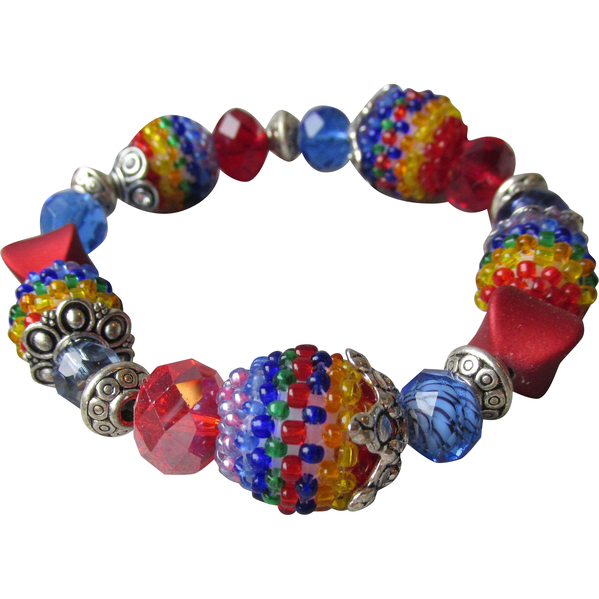 """My Secret Garden"" Lampwork Art Glass Bead Artisan Stretch Bracelet, ""Harlequin"" #B2"